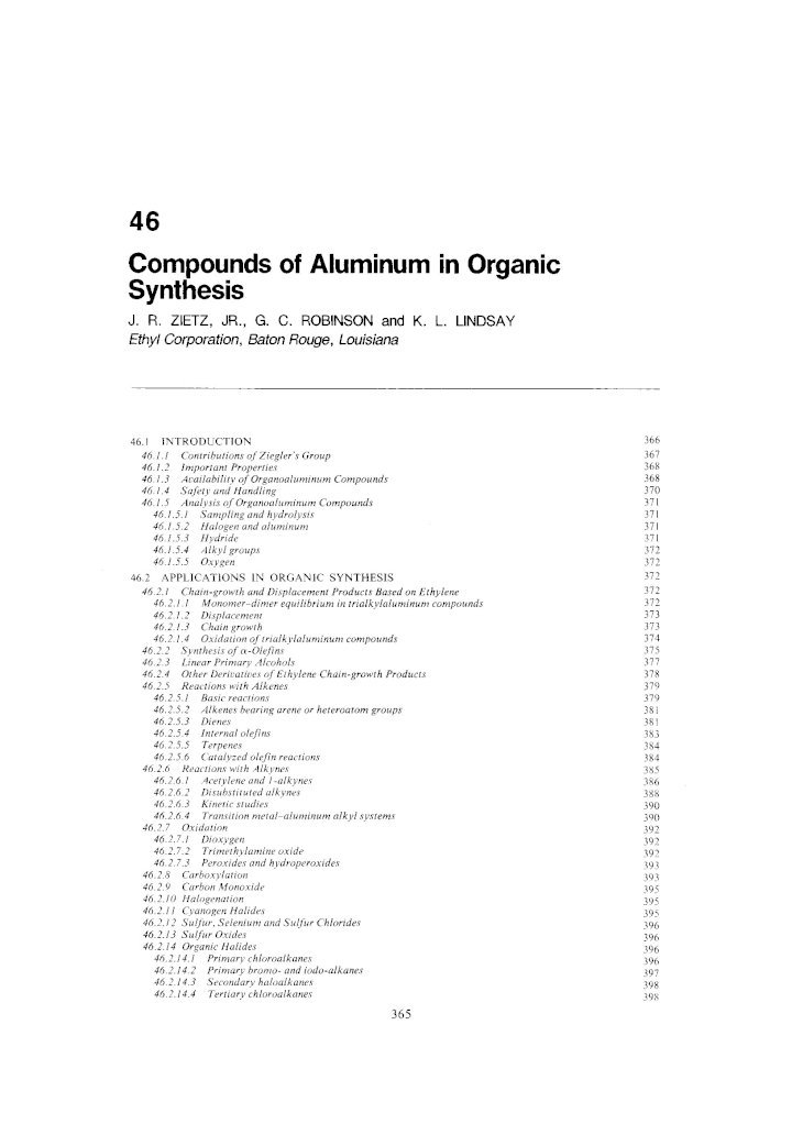 Comprehensive Organometallic Chemistry Compounds Of Aluminum In Organic Synthesis